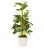 Fourwalls Green Polyester Artificial Pothos Bonsai Plant In Ceramic Vase