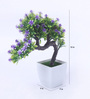 Fourwalls Green Synthetic Miniature Artificial Drooping Tree with Vase