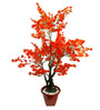 Fourwalls Orange Polyester 620 Leaves Artificial Japanese Maple Floor Plant
