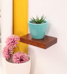 Furnicheer Brown Mango Wood Wall Shelf