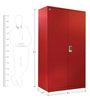 Fully Powder Coated Metallic (Mild Steel) Two Door Wardrobe in Red Colour by Delite Kom