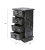 Furncoms Black Wooden Vintage Collectible Long Box with 4 Drawers