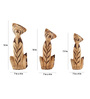 Furncoms Brown Wooden Cat Showpieces - Set of 3