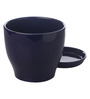 Gaia Dark Blue Glazed Ceramic 8 x 8.5 Inch Table Top Planter with Plate