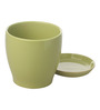 Gaia Light Green Glazed Ceramic 6 x 6.5 Inch Table Top Planter with Plate