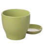 Gaia Light Green Glazed Ceramic 8 x 8.5 Inch Table Top Planter with Plate