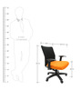 Geneva Desktop WW Black Office Ergonomic Chair in Orange Colour by Chromecraft