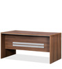 Genius Table with Three Top Hung Drawer & shutter in Acacia Dark and Silver Grey by Debono