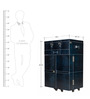Genuine Leather Bar Cabinet in Blue Colour by Three Sixty Degree
