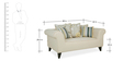 Gilberto Two Seater Sofa with Cushions in Pale Taupe Colour by CasaCraft