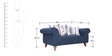 Gilberto Two Seater Sofa with Throw Cushions in Teal Blue Colour by CasaCraft