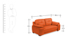 Gloria Two Seater Sofa in Orange Color by Home City