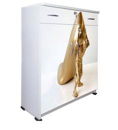 Golden Shoe Shoe Rack In White & Golden Colour By BigSmile