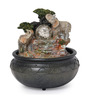 Go Hooked Brown Resin & Plastic Elephants Table Indoor Fountain with Ball