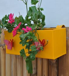 Green Gardenia Railing Square Box Planter With Butterfly-Yellow
