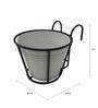 Green Gardenia Iron Railing Basket with White Metal Pot