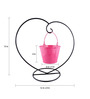 Green Gardenia Pink Iron and Metal Heart Table Top Stand with Bucket Planter