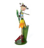 Green Girgit Tall Girl Playing Violin Planter