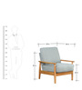 Guarulhos Grey One Seater Sofa in Teak Oak Finish by CasaCraft