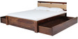 Olney Queen Bed with Upholstered Headboard & Storage in Provincial Teak Finish by Woodsworth