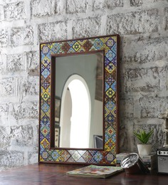 Hanumant Multicolour Solid Wood & Tile Carved Framed Decorative Mirror - 1553010