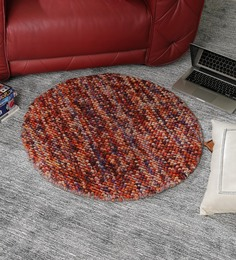 HDP Multicolour Wool 32 Inch Hand Woven Pebble Round Carpet - 1538920