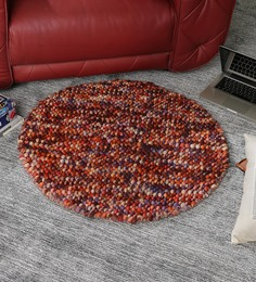 HDP Multicolour Wool 36 Inch Hand Woven Pebble Round Carpet - 1538941