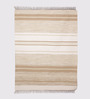 HDP Beige & Brown Cotton 92 x 64 Inch Hand Woven Flat Weave Area Rug