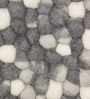 HDP Grey & White Wool 32 x 20 Inch Reversible Felt Ball Bed Side Carpet