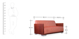 Helena Two Seater Sofa in Red Colour by Durian