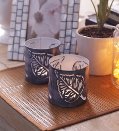 Height Of Designs White Iron Peepal Leaf Candle Votive - Set Of 2