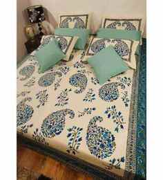 Heritage Fabs Anokhi Blue N Gold Double Bed Cover Set With 2 Pillow Covers