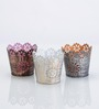 Height of Designs Multicolour Iron Floral Candle Votive - Set of 3