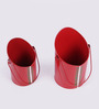 Height of Designs Red Iron Leaf Design Bucket Planter - Set of 4