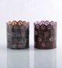 Height of Designs Multicolour Iron Flower Candle Votive - Set of 2