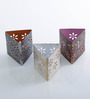 Height of Designs Multicolour Iron Triangle Candle Votive - Set of 3
