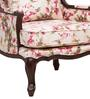 Lorraine Wing Chair with Wooden Frame in Salmon Pink Floral Print by Amberville