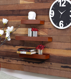 Engineered Wood Wall Shelves Set Of 3 In Brown By CasaCraft