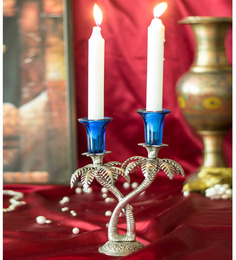 Homesake Blue Metal Single Candle Stand