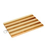 Home Creation Brown and Black Wood & Steel Chopping Board with Knife Set - Set of 6