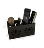 Home Sparkle Black Engineered Wood Compact Designed Remote Cum Mobile Holder