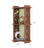 Home Sparkle Brown Engineered Wood 2 Pocket Carved Wall Shelf