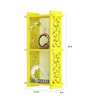 Home Sparkle Yellow Engineered Wood 2 Pocket Carved Wall Shelf