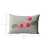 Homeight Off White Cotton 12 x 18 Inch Peony Hysteria Cascade Cushion Cover with Filler
