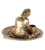 HomeTown Gold Polyresin Grace Resting Buddha Tea Light Holder