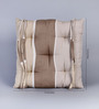 House This Beige Cotton 16 x 16 Inch The Barcode Stripes Chair Pad