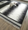 Hyde Park Black & White Wool & Cotton 120 x 96 Inch Hand Woven Space Dyed Reversible Flat Weave Carpet