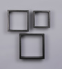 Importwala Black MDF Wall Shelves - Set of 3
