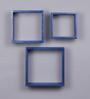Importwala Blue Cube MDF Wall Shelves - Set of 3