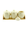Importwala Grapes Ceramic Serving Pots Set with Wooden Tray - Set of 3